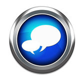 Blue talk bubble button isolated in white — Stock Photo