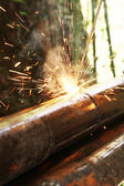 Welding sparks on metal — Stock Photo