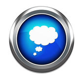 Blue think bubble button isolated in white — Stock Photo
