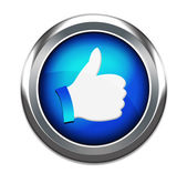 Hand Shaped button thumbs up like facebook like button isolated in white — Stock Photo