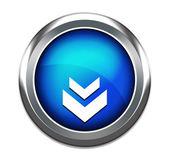 Blue unique download button icon isolated in white — Stock Photo
