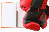 Pair of red gloves and notebook — Stockfoto