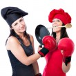Cook chef boxing competition - Stock Photo
