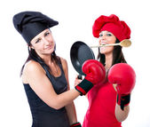 Cook chef boxing competition — Stock Photo