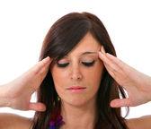 Vrouw hoofdpijn expressie — Stockfoto