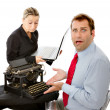 Boss and worker with computer problems — Stockfoto