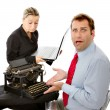 Boss and worker with computer problems — Stock Photo