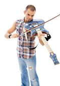 Classical violinist or rock guitarist — Stock Photo