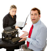 Boss and worker with computer problems — Foto Stock