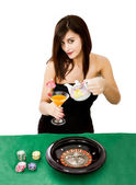 Woman poker and casino' player — Stock Photo