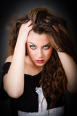 Woman with incredible eyes alluring — Stok fotoğraf
