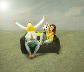 Hooligan exultation after a football goal — Stock Photo