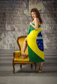Woman with brazilian flag for cloth — Stock Photo