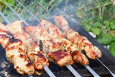 Meat is roasted on skewers — Stock Photo