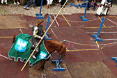 Knight rides a horse — Stock Photo