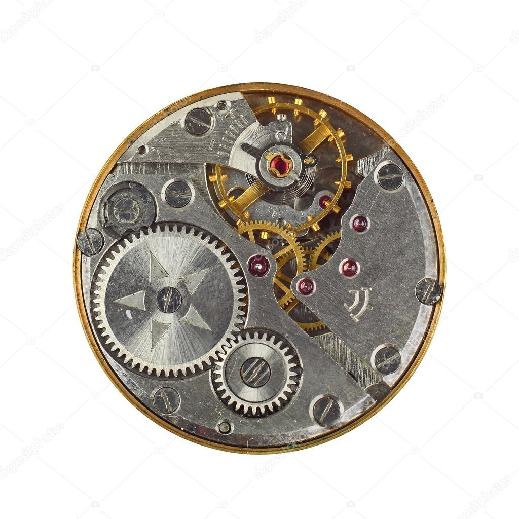 Clockwork details, pinions and wheels macro closeup isolated on white  Stock Photo #14151395