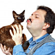 Man and cat — Stock Photo