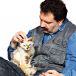 Royalty-Free Stock Photo: Man and kitty