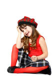 Sitting girl in red — Stock Photo
