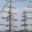 Masts with sails — Stock Photo