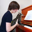 Boy and cat play piano — Stock Photo