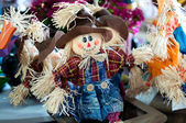 Funny hand made scarecrow dolls — Stock Photo
