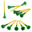 Collection of brazilian vuvuzelas, traditional plastic trumpets — Stock Photo