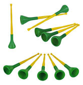 Collection of brazilian vuvuzelas, traditional plastic trumpets — Stock Photo