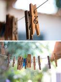 Collection clothespin — Stock Photo