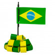 Brazilian flag with some whistles — Stock Photo