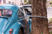 Old car lock with a chain — Stock Photo