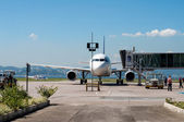 Airplane parked on Santos Dumont airport — Stock Photo