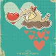 Happy Valentines Day Design. Elephant on cloud with heart — Stock Vector #39184325