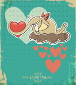 Happy Valentines Day Design. Elephant on the cloud with heart — Cтоковый вектор