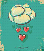Happy Valentines Day Design. Cloud with hearts — Vector de stock
