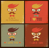 Hipster face retro card. Happy Valentines day — Stock Vector