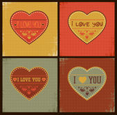 Set of Happy Valentine's Day Cards — 图库矢量图片