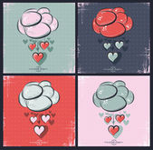 Set of Happy Valentines Day Design. Cloud with hearts — 图库矢量图片