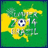 Brazilian football poster. Summer 2014 — Vector de stock
