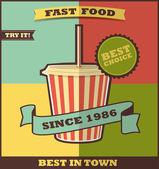 Fast-Food-Menü. heißes Getränk. — Stockvektor
