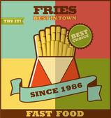Fast food menu. Hot fries. — 图库矢量图片