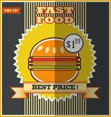 Fast food menu. Hot Hamburger. — Vetorial Stock