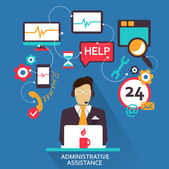 Flat design . Freelance career. Administrative assistance. — Cтоковый вектор