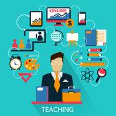 Flat design . Freelance career. Teaching. — Stock Vector