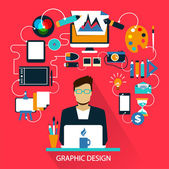 Flat design . Freelance career. Graphic design — Stock Vector