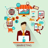 Flat design . Freelance career. Marketing. — Stock Vector