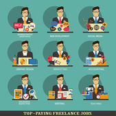 Set of freelance career icons. — Stock Vector