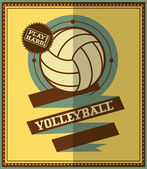 Flat design. Volleyball retro poster — Stock Vector