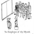 Employee of the month is first on elevator - Stock Photo