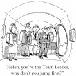 You are the team leader you jump first — Stock Photo #16042271
